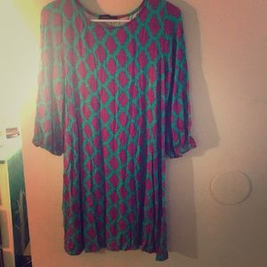 Turquoise and purple tunic